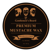 The Gentlemen's Premium Moustache Wax – Completely Fragrance Free – For A Strong All-Day Hold Without Stiffness Or Greasiness – Dries Invisible – 60ml