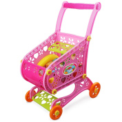 Shopping Cart Toy,Meme Kids Grocery Trolley Pretend Paly Set Include 17PCS Fruit Vegetable Food