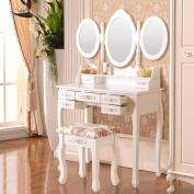 UEnjoy Vanity White Dressing Table Makeup Desk with Mirrors and Stool 7 Drawers