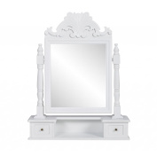 Anself Dressing Table Make Up Table With Swing Mirror MDF White
