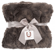 Max Daniel Luxe Charcoal Bunny Baby Blanket - Double Sided - Piped Edge