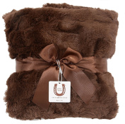 Max Daniel Luxe Chocolate Bunny Baby Blanket - Double Sided - Piped Edge