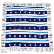Bambino Land Satin Trim 2-Layer Snuggle Blanket - Navy & Teal Pirates