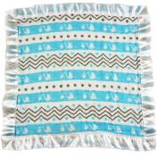 Bambino Land Satin Trim 2-Layer Snuggle Blanket - Stork Blue