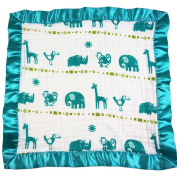 Bambino Land Satin Trim 2-Layer Snuggle Blanket - Jungle Teal