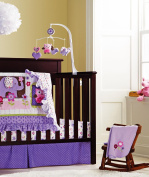 New Baby Girls Purple 9pcs Crib Bedding Set with musical mobile and bumper