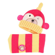 Cute Winter Baby Kids Girls Boys Hats Warm Scarf Caps Plush Ear Protect Gift Set-Rose Red