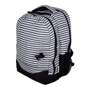 Baby Nappy Bag Backpack with Matching Changing Mat - Grey & White Stripes