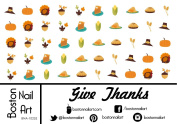 Give Thanks - Happy Thanksgiving - Waterslide Nail Decals - 50pc