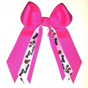 Small Bow with Happy Birthday, Made in the USA, Hot Pink, French Clip