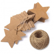 KINGLAKE 100 Pcs Christmas Gift Tags with String Kraft Paper Blank Vintage Hang Tags Star Shape Gift Tag Wedding Hang Tags With 30m Jute Twine Crafts Price Tags