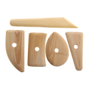 TTnight 5 Pcs Wood Pottery Clay Sculpture Ceramics Moulding Tool Potters Rib