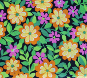 BRIGHT FLOWERS ON BLACK Fabric 100% COTTON 1 YARD