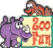 """ ZOO FUN"" - IRON ON EMBROIDERED PATCH - ANIMALS - ZOO - JUNGLE - FOREST - FARM"