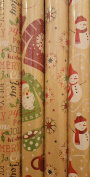 Chirstmas House Printed Kraft/Wrapping Paper (2.3sqm) - 3 Rolls