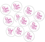 90 Hot Pink Thank You For Celebrating 3.8cm Round Party Favour Stickers / Envelope Seals/ Favour Decorations