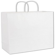 "Recycled White Kraft Paper Shoppers Escort, 13x 6"" x 39cm"