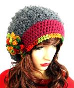 Women's Hat Slouch Grey Beanie Handmade