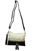 Zzfab 2 Tone Colour Wristlet Cross Body handbag with Tassel