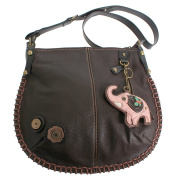 Chala Charming Hobo Crossbody Bag with Elephant - Dark Brown