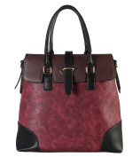 Diophy PU Leather Two Tone Birkin Style Tote Accented with Buckle Décor Womens Purse Handbag AB-013