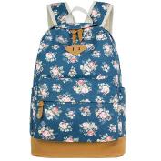 E-Bestar Canvas Rucksack Vintage Flower Backpack School Campus Book Bag Shoulder Bag For Women And Girls