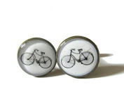 Bicycle cufflinks, Cyclist cufflinks, bicycle jewellery , Bike cufflinks, Bike Jewellery, Cyclist Gift, Sports Earrings