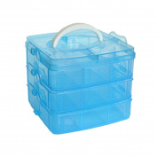 ECYC Detachable DIY Storage Box 3-Layers Clear Plastic Beads Jewellery Organiser Holder Cabinets,Blue