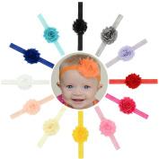 Baby Girls Headbands 12Pcs 5.1cm Newborn Girls Baby Girls Toddlers Kids Children Super Soft and Stretchy Headbands with 5.1cm Shabby Chiffon Flower