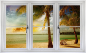 60cm Window Landscape Scene Nature View TROPICAL BEACH SUNSET #1 WHITE CLOSED Wall Sticker Room Decal Home Office Art Décor Den Mural Man Cave Graphic SMALL
