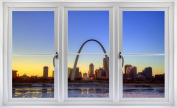 60cm Window Landscape Scene Instant City View ST. LOUIS MISSOURI ARCH SKYLINE SUNSET #1 WHITE CLOSED Wall Sticker Room Decal Home Office Art Décor Den Mural Man Cave Graphic SMALL