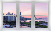 60cm Window Landscape Scene Instant City View CHICAGO ILLINOIS SKYLINE SUNSET #1 WHITE CLOSED Wall Sticker Room Decal Home Office Art Décor Den Mural Man Cave Graphic SMALL
