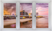 60cm Window Landscape Scene Instant City View DAYTONA BEACH FLORIDA SKYLINE SUNSET #1 WHITE CLOSED Wall Sticker Room Decal Home Office Art Décor Den Mural Man Cave Graphic SMALL