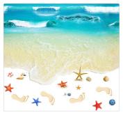 Beach Floor Wall Sticker, Buedvo Removable Mural Decals Vinyl Art Living Room Decor