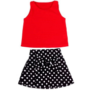 Buedvo 2pcs Baby Girls Children Suit, Vest+Pleated Bowknot Skirt Clothes For Evening Party Festival