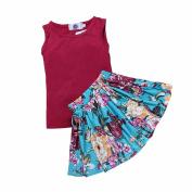 Kids Tales Little Girls' Dress Set Summer Flower Sleveless 2Pcs