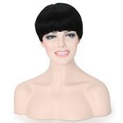 Ten Chopstics 9A Brazilian Virgin Hair Lace Front Wig Glueless Full Lace Wig Remy Human Hair Short Cut Human Hair Wigs For African Americans Black Women130% Density Baby Hair Bleached Knots