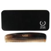 Zeus Natural Horn Wide Tooth Beard Comb in Deluxe Tin - Beard Comb for Men!