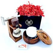 High Quality Wooden Shaving Set DE safety Razor Mens grooming Shaving set Classic Straight Razor, Good for sensitive skin, Perfect gift shaving set for him, Holiday Season