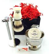 Vintage Mens Shaving Set -Comes in Gift Box- DE Razor Men Grooming Shaving kit High Quality Stainless Steel Complete set DE safety Razor with Shaving Brush Soap and Mug