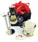 5 Piece Men's Shaving Set -Comes in Gift Box- De Razor Men Grooming Shaving kit High Quality Stainless Steel Complete set DE safety Razor with Shaving Brush Soap and Mug