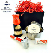 Men's Shaving Set -Comes in Gift Box- De Razor 4 in 1 Beautiful Gift Vintage Classic Collectible ZEVA DE Stainless Safety Razor Omega Shaving Brush Stand holder Soap lather Toiletry