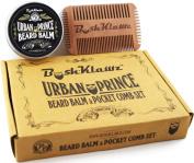 Urban Prince Beard Balm Conditioner and 4Klawz Pocket Beard Comb Gift Set Bundle