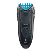 Braun 3 in 1 Cordless Shaver Extra Wide Shaver Head and Smart Foil Technology with Twistable Styling Trimmer of 2 Widths, and Click & Lock Adjustable Comb with 4 Lengths, Fully Washable BONUS Beard Comb and Protective Cap