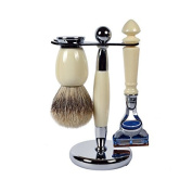 3 Piece Faux Ivory Kaliandee Set With Luxury Silvertip Brush And Fusion Razor Handle