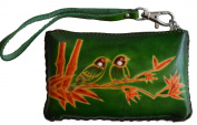 Leather Change Purse,Wristlet Wallet,Rectangle,Love Birds On Bamboo,More Colour