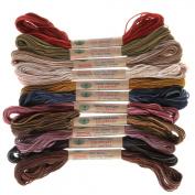 12 Valdani 6 Strand Floss Embroidery Thread Vintage Hues 10 Yd Skeins