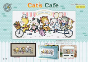 SO-G104 Cat's Café, SODA Cross Stitch Pattern leaflet, authentic Korean cross stitch design chart colour printed on coated paper