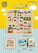 SO-3136 I LOVE SCHOOL, SODA Cross Stitch Pattern leaflet, authentic Korean cross stitch design chart colour printed on coated paper