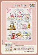 SO-G16 Tea Time, SODA Cross Stitch Pattern leaflet, authentic Korean cross stitch design chart colour printed on coated paper